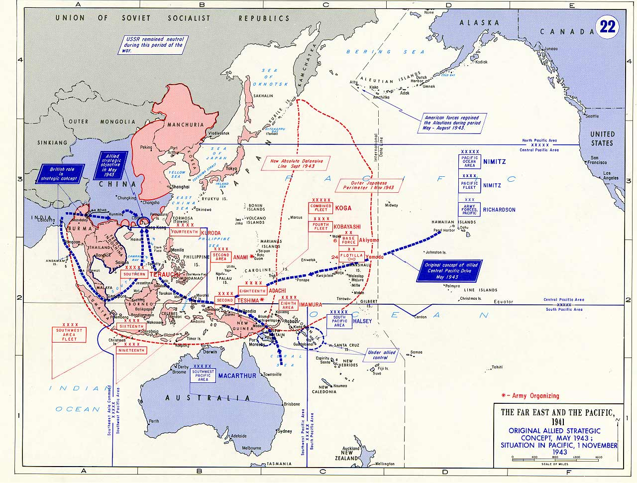 allied strategic concept map of 1943 allied theater organization map 2 july 1942