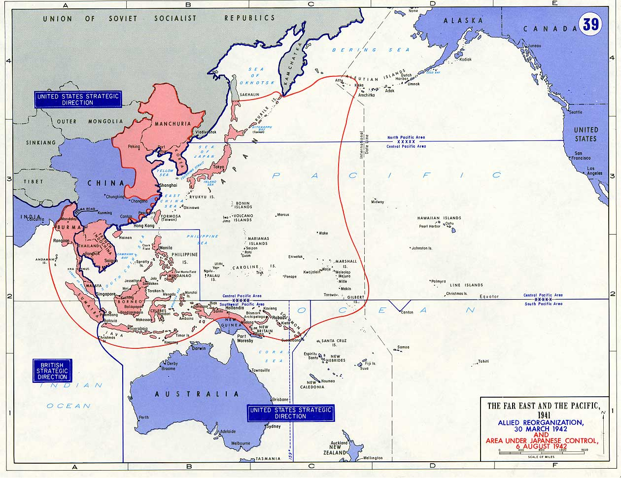 General Maps About The Far East And The Pacific During The WW II - Japan map during ww2