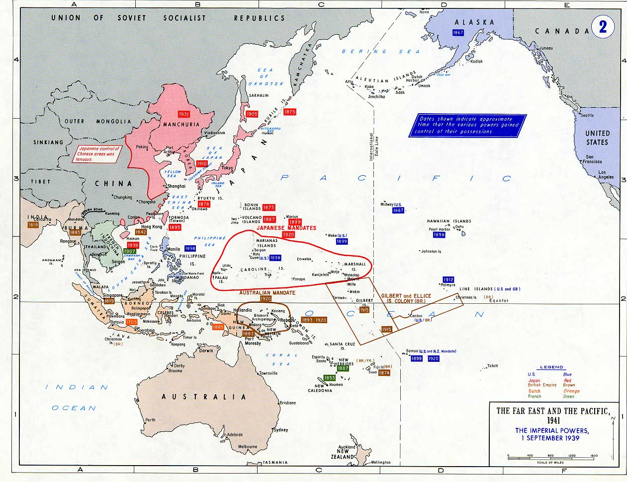 General Maps About the Far East and the Pacific During The WW II