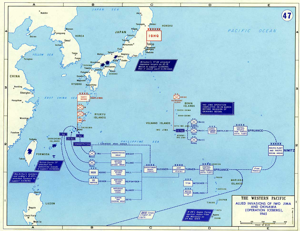 Ivo jima maps historical resources about the second world war invasion of iwo jima and okinawa 1945 gumiabroncs Choice Image