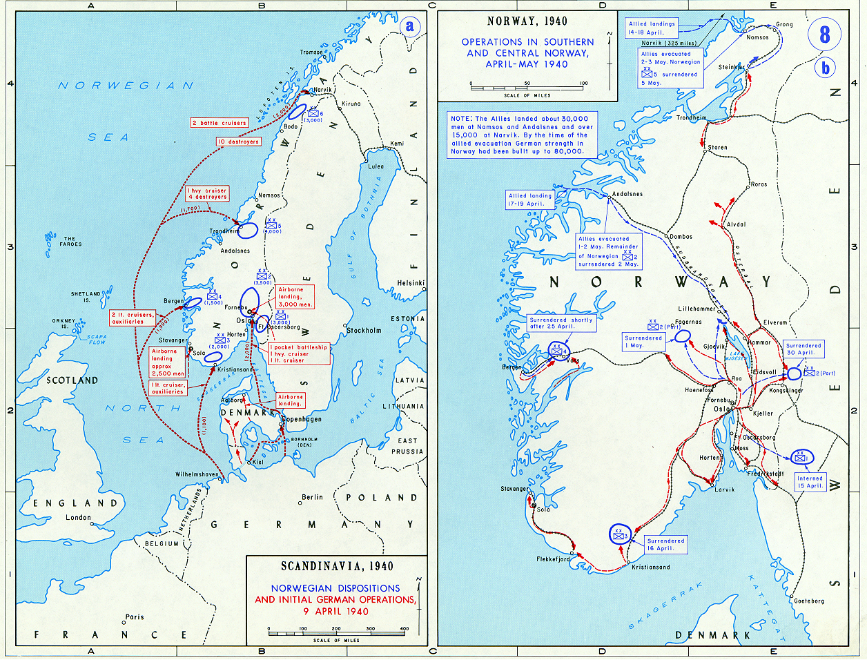 Operation weserbung maps norway historical resources about the operation weserbung denmark and norway maps and resources gumiabroncs Images