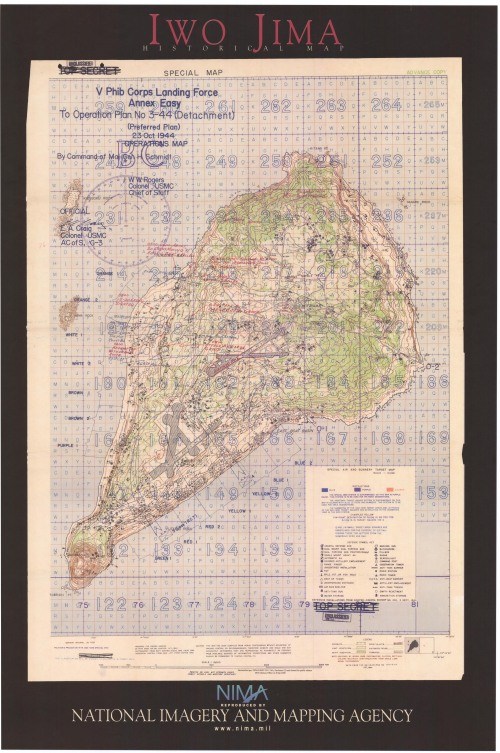 Operations map of Iwo Jima, prepared 23 Oct 1944