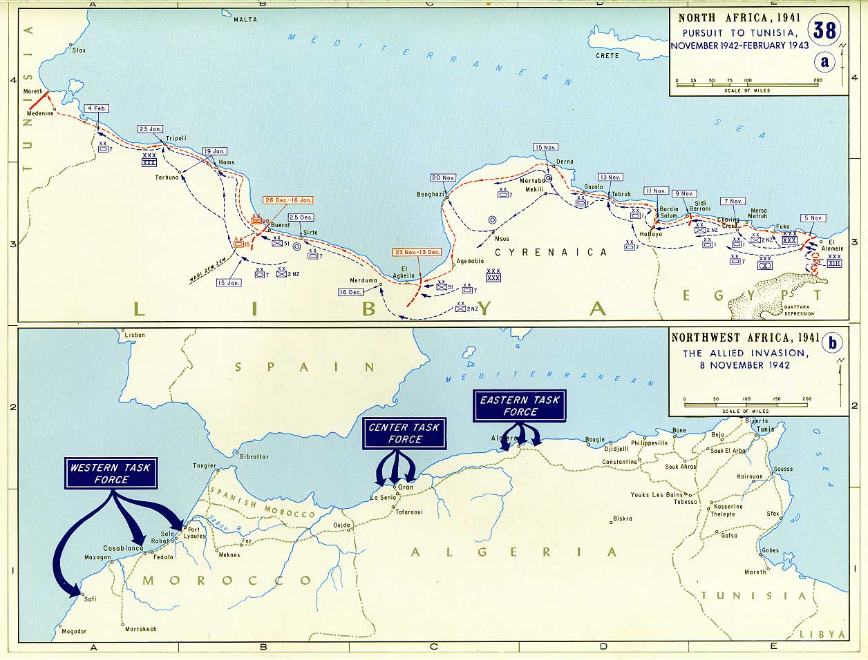 War maps war in north africa and italy historical resources about north africa the allied invasion 8 november 1942 gumiabroncs Choice Image