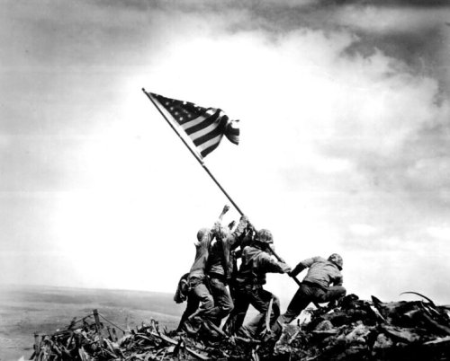 Raising the Flag on Iwo Jima, a photo by Joe Rosenthal