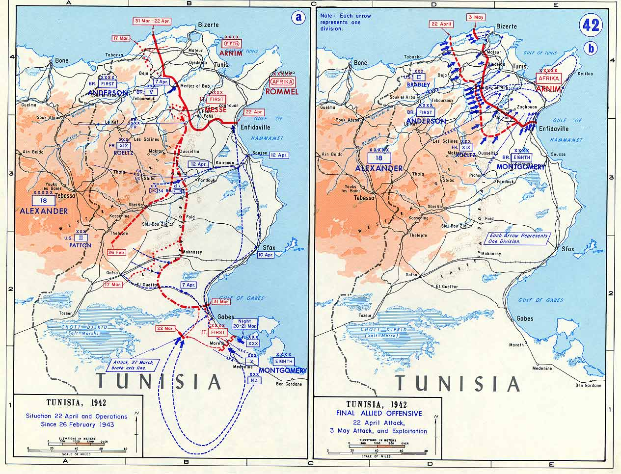 Maps of Tunisia Campaign | Historical Resources About The ...