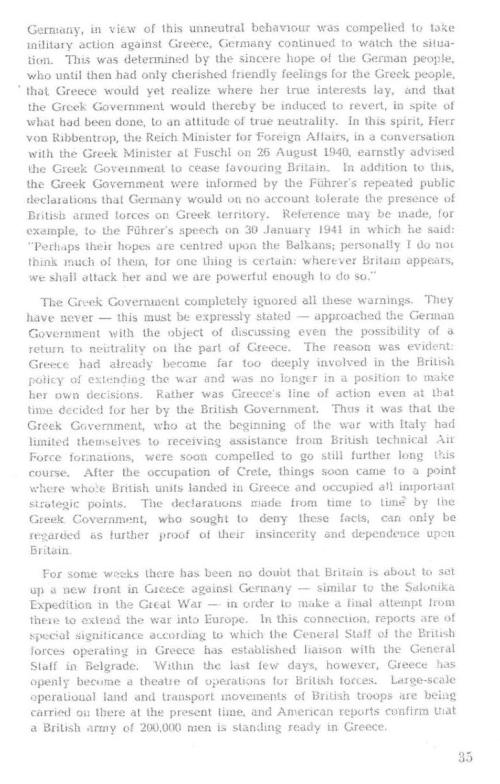 Note of the ReichGovernment to the Greek Government, April 6, 1941